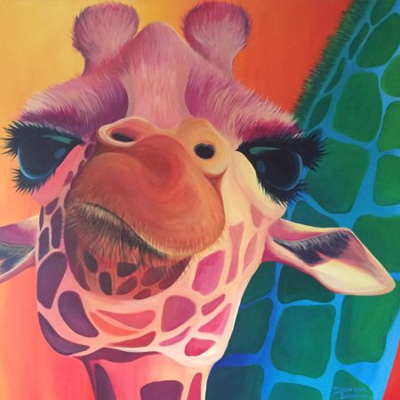 Giraffe 2.0, acrylverf op canvas, 3x100x100cm, 2016