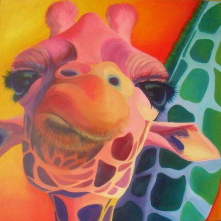 Giraffe, acrylverf op canvas, 3x100x100cm, 2011