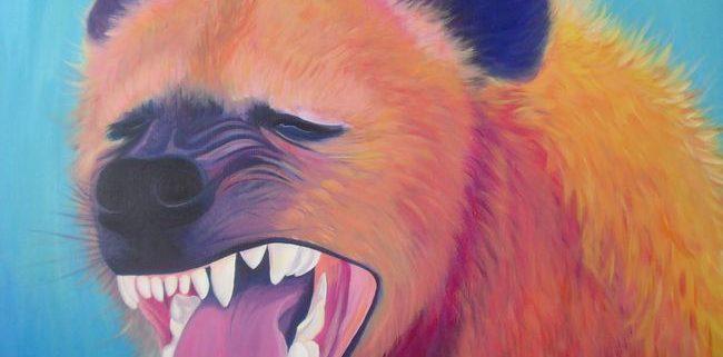 Hyena, acrylverf op canvas, 3x100x100cm, 2012