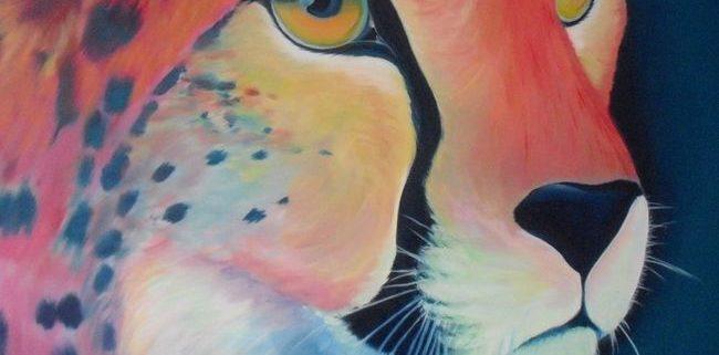 Jachtluipaard, acrylverf op canvas, 3x100x100cm, 2012