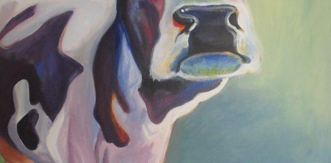 Nieuwsgierige koe, 70x70cm, acryl op canvas, 2010