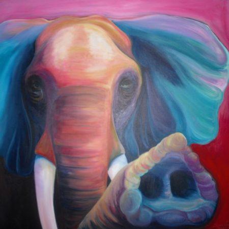 Olifant, acrylverf op canvas, 3x100x100cm, 2011
